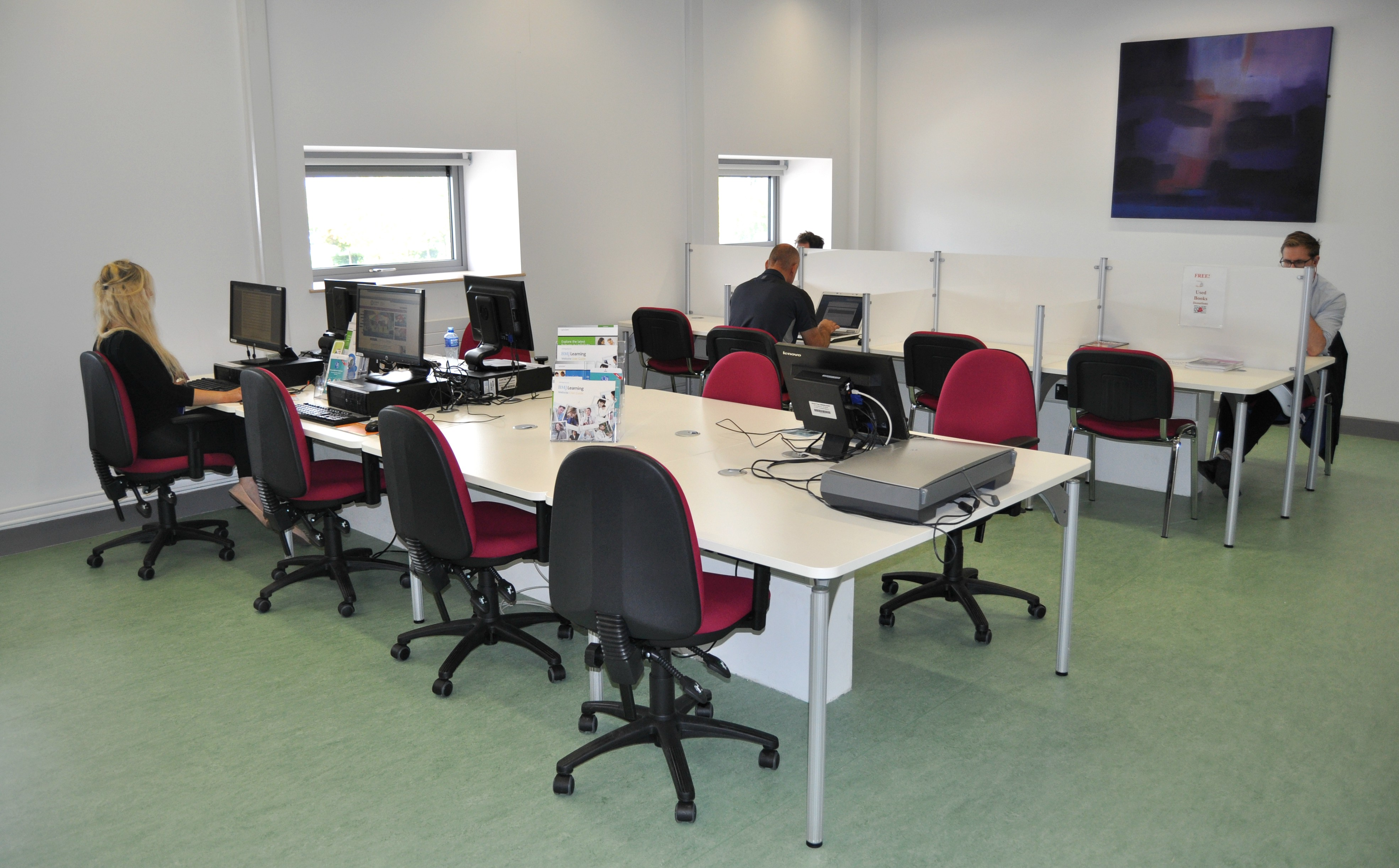 Library, Midland Regional Hospital, Tullamore, Co. Offaly. PCs and study space